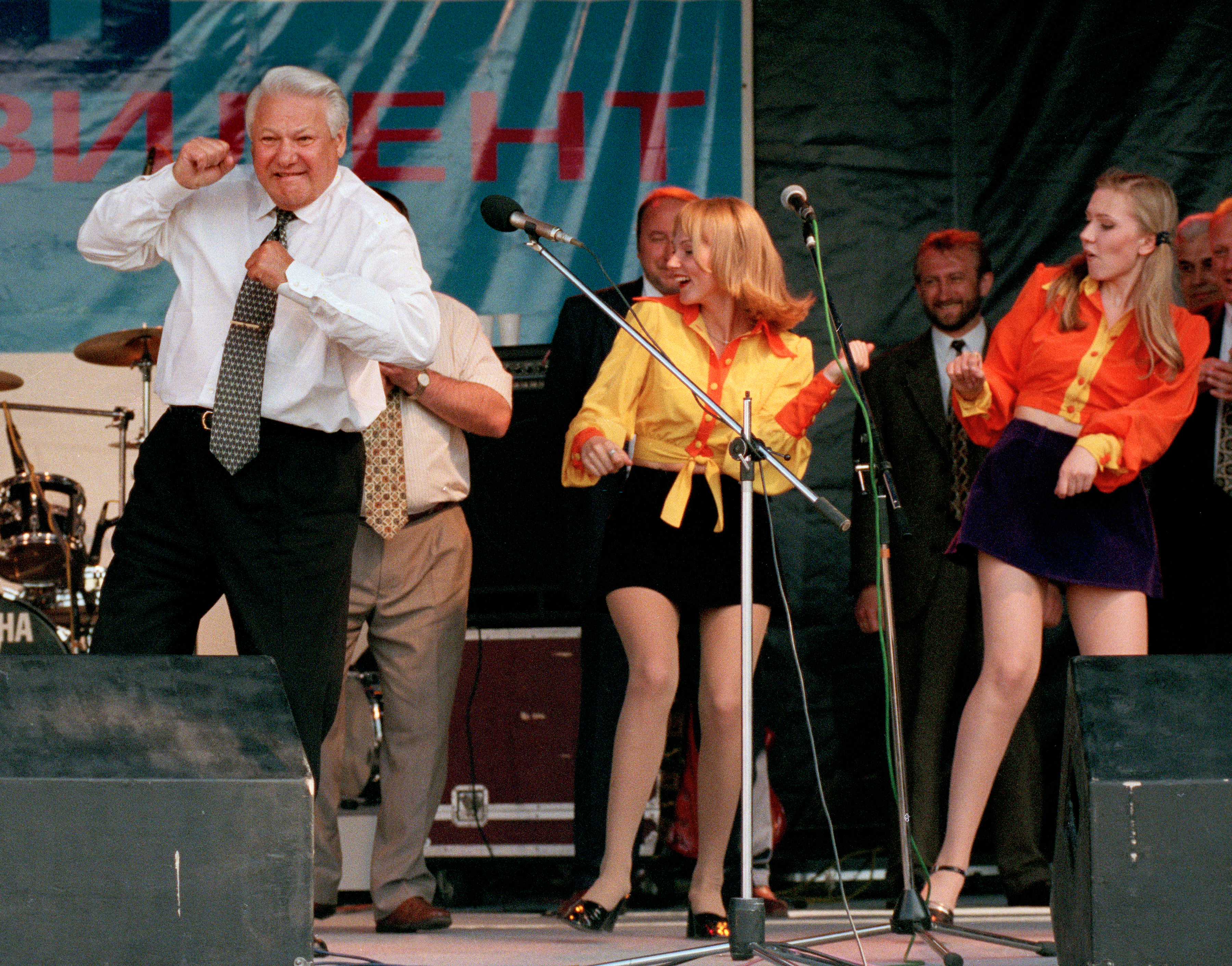 Russian President Boris Yeltsin dances at a rock concert during a campaign appearance in Rostov, June 10, 1996. Yeltsin went on to defeat Communist challenger Gennady Zyuganov in a runoff election for the Russian presidency. (AP Photo/Alexander Zemlianichenko)