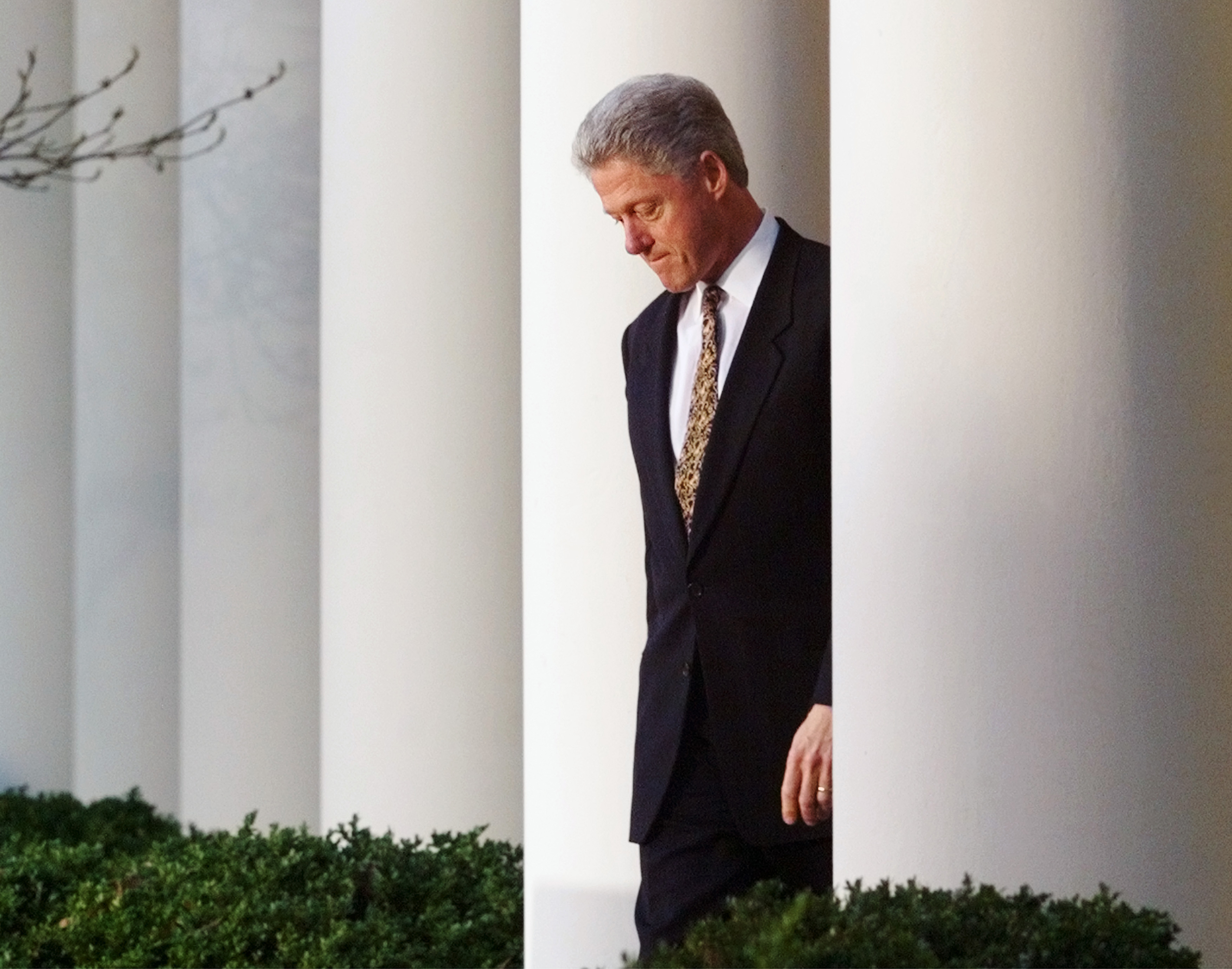President Clinton walks to the podium in the White House Rose Garden to make a statement on the House impeachment inquiry on Dec. 11, 1998. The president apologized to the country for his conduct and offered to accept congressional censure. (AP Photo/J. Scott Applewhite)