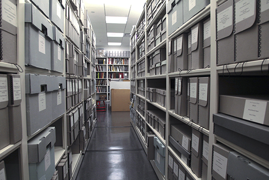 The stacks of the Corporate Archives in AP Headquarters
