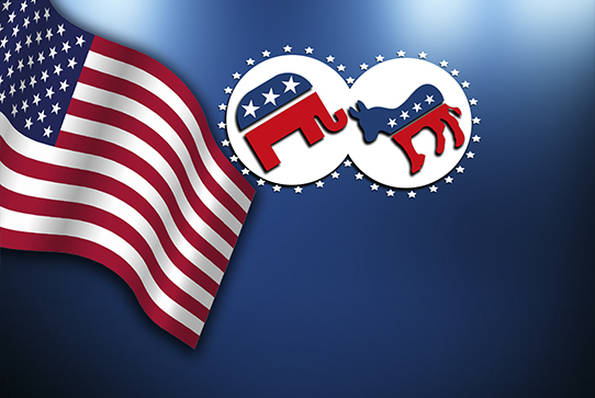 United States flag with Republican and Democratic party symbols