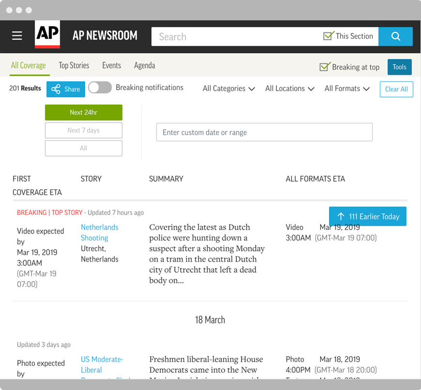 Coverage Plan dashboard on the AP Newsroom platform