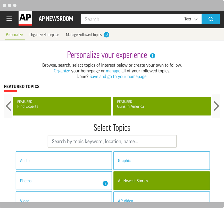 Personalization capabilities on AP Newsroom dashboard