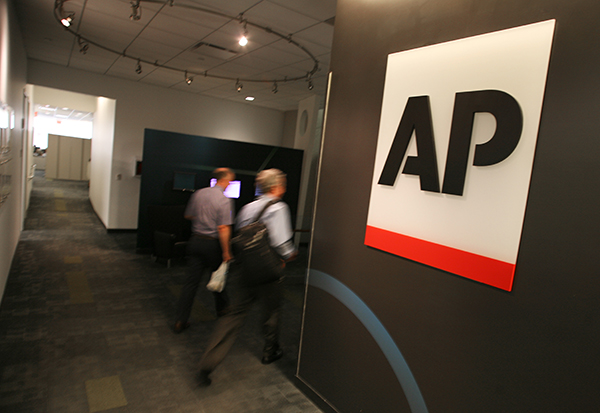 The entrance to the newsroom at AP's headquarters in New York.