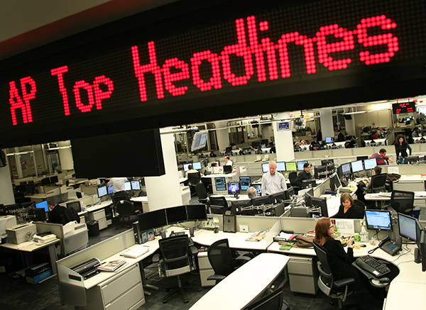 The newsroom at AP's headquarters in New York.