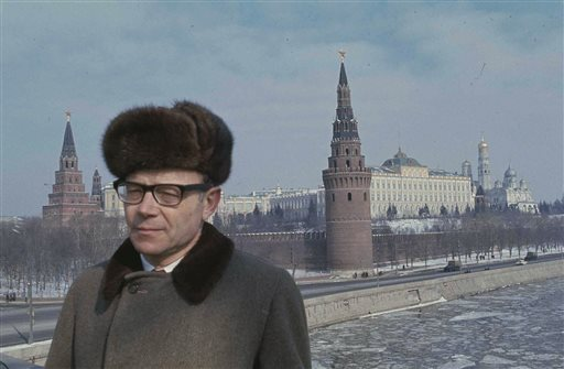 In this 1971 photo, former bureau chief for The Associated Press in Moscow Jack Bausman stands in Moscow. (AP Photo/File)