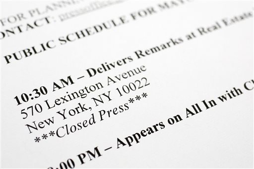 "In this Friday, May 23, 2014 studio photo, a detail of a press release for New York Mayor Bill de Blasio's schedule is shown. The public schedule for Feb. 19. 2014 says that his remarks at a meeting of the Real Estate Board of New York are ""Closed Press."" In de Blasio's first four-and-a-half months in office, members of the media have been barred from 50 events and access has been limited to nearly 30 more, according to a review of the mayor's public schedule done by The Associated Press. (AP Photo/Mark Lennihan)"