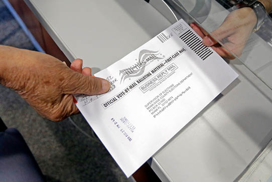 Absentee vote is submitted in Doral, Florida.